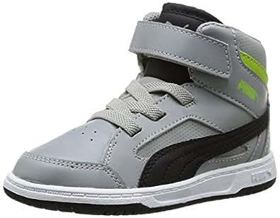 Puma Rebound V2 Hi Kids, Baskets mode mixte bébé - Gris (Limestone Gray/Black/Green), 25 EU (8 UK)