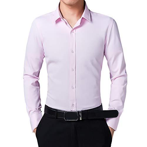 TYTUOO Herren Business Fashion Slim Fit Bodybuilding Reine Farbe Bluse Langarm Shirt