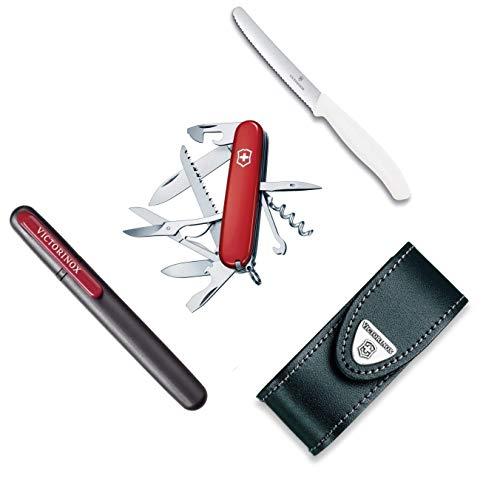 Victorinox Taschenmesser Camping Edition Huntsman, Etui, Tafelmesser u. Messerschärfer (Camping Edition Set)