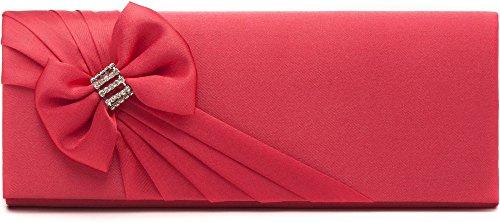 VINCENT PEREZ, Clutch, Abendtaschen, Umhängetaschen, Unterarmtaschen aus Satin und Schleifen-Applikation mit Strasssteinen, mit abnehmbarer Kette (120 cm), 26x10,5x5,5 cm (B x H x T) Rot (Koralle)