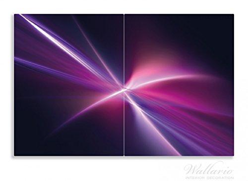 Wallario Herdabdeckplatte / Spritzschutz aus Glas, 2-teilig, 80x52cm, für Ceran- und Induktionsherde, Motiv Abstrakte Formen und Linien schwarz lila pink weiß (Formen Abstrakte)