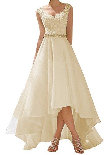 O.D.W Spitze Lange Kurze Rustikale Party Brautkleider Frauen Vintage Hochzeitskleider(Champagner,...