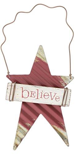 Wellpappe Metall und Holz Schild Ornament, Metall, Believe, 15 x 10 cm ()
