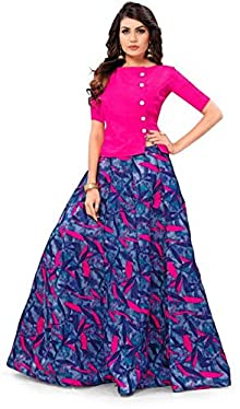 8d2571e96ab Drashti villa Women s Satin Semi-Stitched Lehenga Choli With Blouse Piece (Free  Size)