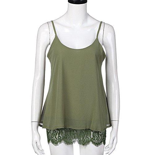 Tefamore Donne Estate Camis Lace Patchwork Top Senza Maniche Casuale Camicetta Verde