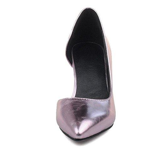 COOLCEPT Femmes Simple Talons de chaton Talon Moyens Slip On D'Orsay Court Chaussures Rose