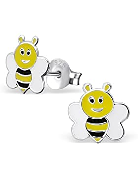 Kinder Silber Biene Bunter Ohrstecker mit Epoxy