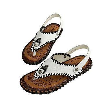 Slippers & amp da uomo;Comfort pelle bovina Nappa Primavera in pelle casual Nero Bianco piatto, Bianco Sanda sandali Titanium