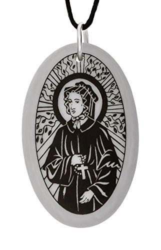 Handgemachte Elizabeth Ann Seton Oval Porzellan Anhänger (auf schwarzer Schnur) (Elizabeth Symbol St)