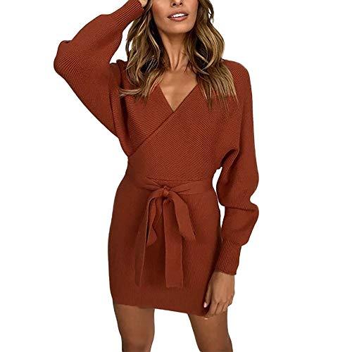 2889c1a28dd Goosuny Elegante Strickkleid Damen Kurze Kleider Sexy V-Ausschnitt  Strickpullover Figurbetontes.
