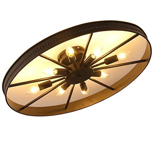 Retro Rad Deckenlampe, Runde Vintage Schlafzimmerlampe, 8-Flammig Deckenleuchte, Antik Esszimmerlampe, Ring Wohnzimmer Lampe, E14, Max. 60 W, Eisen, Ø68cm (Ø68cm-Anhänger nicht inklusive(8-Flammig)) - Vintage Vintage 8