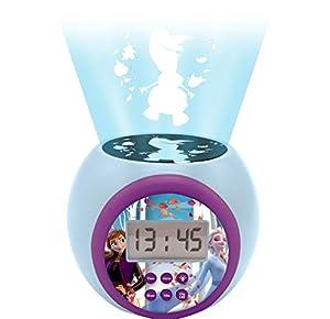 LEXIBOOK Despertador con proyector Frozen 2 Anna Elsa con función de repetición y Alarma, luz Nocturna con Temporizador, Pantalla LCD, batería, Azul/púrpura, Color