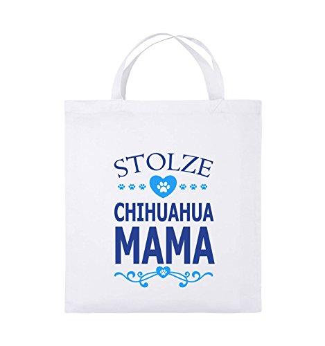 Comedy Bags - Stolze Chihuahua Mama - HERZ - Jutebeutel - kurze Henkel - 38x42cm - Farbe: Schwarz / Weiss-Neongrün Weiss / Royalblau-Hellblau