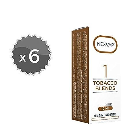 E-Liquid, 6 x 10 ml liquide pour cigarette électronique Nexvap Tobacco Blends,liquide 10 ml avec verrouillage anti-manipulation pour une sécurité totale, attention cet article ne contient