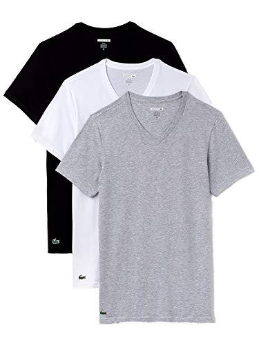 Lacoste V-Neck T-Shirt 3er Pack Slim Fit Sortiert, L (Lacoste Shirts Für Herren Slim Fit)