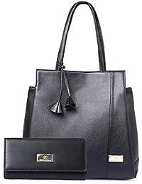 Speed X Fashion Women's Handbag With Wallet (Set of 2) (FSN-014 Black_Black)