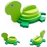 VENMO Montessori mini 3D Puzzle niños educativos divertido juguete colorido de madera Jigsaw regalo (tortuga)