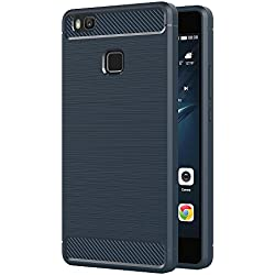 AICEK Coque Huawei P9 Lite, Bleu Silicone Coque pour Huawei P9 Lite Housse Fibre de Carbone Etui Case (5,2 Pouces)