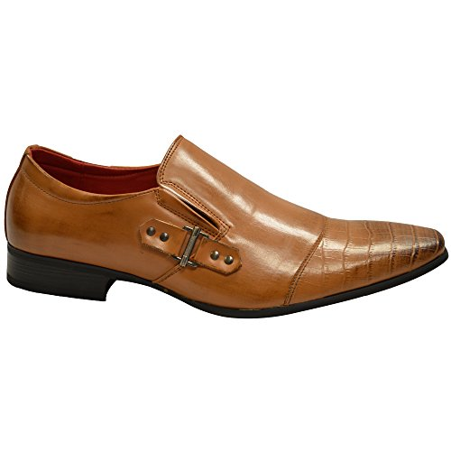 Herren Formell Ohne Bügel Kleid Office Leder Gefüttert Hochzeit Schwarz Hellbraun Party Schuhe Größe UK 6-12 Bräunlich