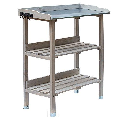Mesa de plantación de madera, mesa de jardín con placa de zinc...