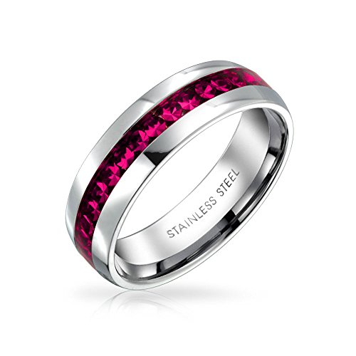 Bling Jewelry Oktober Monat Hellrosa Farbe Kanal EIN Kristall Der Ewigkeit Band Ring Für Frauen Silber Getönt Aus Rostfreiem Stahl