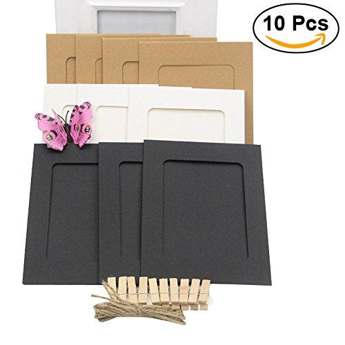 WINOMO Papier Fotorahmen Wanddekoration mit Wäscheklammer und Aufkleber Film Dekor Grenzen Papiermatte Rahmen für 4 * 6in Bild -