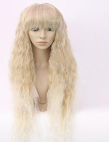 Neuer jiayy ohne Schwanz Tiefe lockige blonde Mischung Mode-Frauen-lange Perücke Haar für afroamericano, 24inch-blonde