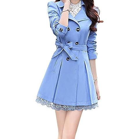 LaoZan Mujer Escudo Del Bowknot De La Zanja Larga Cruzada Con La Correa Y El Dobladillo Del Cordón Azul Claro M