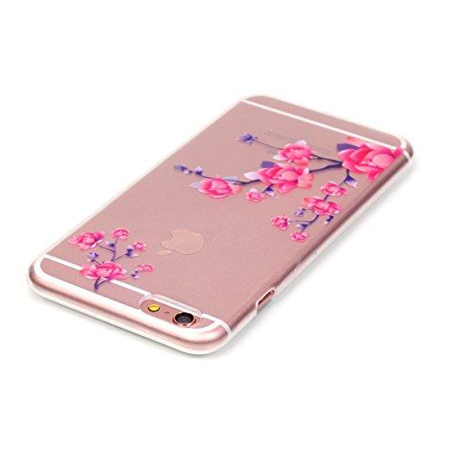 iPhone 7 Hülle,iPhone 7 Case,TOYYM TPU Hülle Schutzhülle Crystal Case Silikon Transparent Hülle Pflaumenblüte Muster Anti-Kratz Zurück Case Cover für iPhone 7 4.7 inch Pfirsichblüte