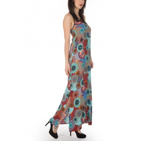 Ideal Shoes - Robe longue imprimé cercles Madiana Turquoise