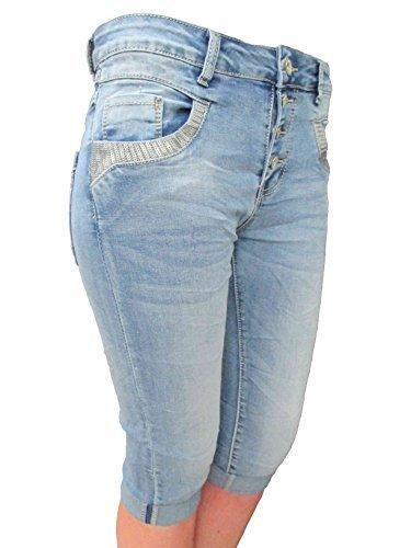 Jewelly by LEXXURY femmes Baggy copain stretch bermuda capri shorts CARDAGE  Pantalon avec boutons paillettes denim 274bcd7817c5