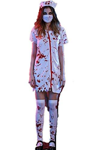 Halloween erwachsene Frauen blutige Doktor Krankenschwester Kostüm Ghost Uniform Kleid Paare Kostüm (L, (Paare Spaß Kostüme)