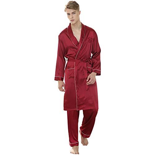 Herren-spa-roben (Herren Satin Nachtwäsche Robe Leichte Spa Bademantel Nachthemd Langarm House Kimono Bademantel Bademantel Bad Nachtwäsche mit Hosen,Red,L)