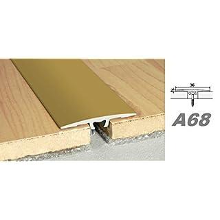 Aluprofile, Bodenleiste Durchgangprofil Alu Übergangsleiste easy fix 36x2mm, A68, Länge:1.80 Meter, Farbe:Gold