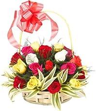 Floralbay Special Handle Basket Arrangement of 18 Mix Roses Fresh Flowers