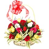 Floralbay Special Handle Basket Arrangement of 18 Mix Roses Fresh Flowers