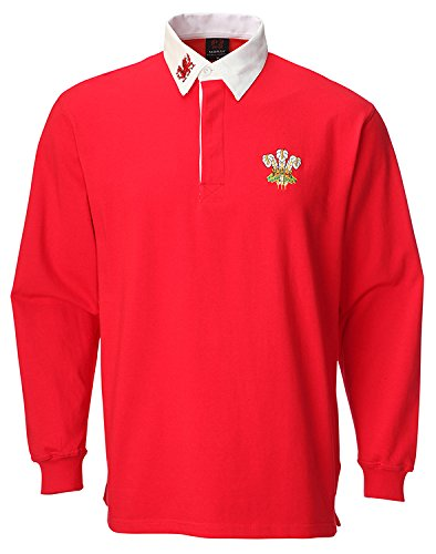 Traditionelle Rugby-shirts (Wales Welsh Traditionelles Junior-Rugby-Shirt, rot)