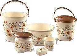 Nayasa Deluxe Small Bathroom Plastic Bucket and Mug Set, 6-Pieces, Brown