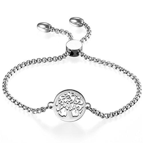 JewelryWe Schmuck Damen Armband, Edelstahl Hohle Baum des Lebens Runde Verstellbar Charm Armkette Armreif, Silber (5 Unter Baum Schmuck Des Lebens)