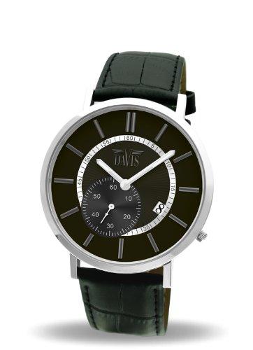 Davis-Mens watch Design- -Dateur- Classic Black Dial Black Leather Strap