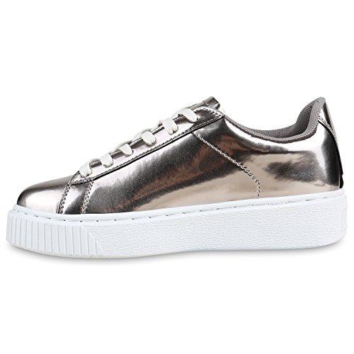 Plateau Sneakers | Damen Sneaker Low | Glitzer Metallic Schuhe | Sportschuhe  Strass | Turnschuhe Lack ...