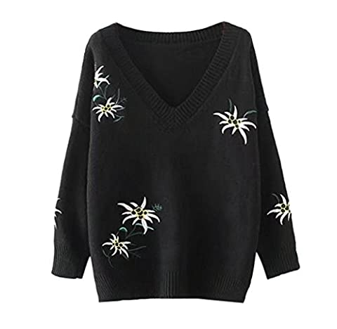 Women Knitted Sweater,Malloom 2017 NEW Long Sleeve O Neck Sweater Printed Casual Knitwear Top -Free Shipping (Black)