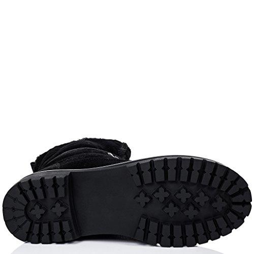 Senhoras Baba Spylovebuy Rendas Até Botas Sapatos Baixos Preto - Camurça Sintética