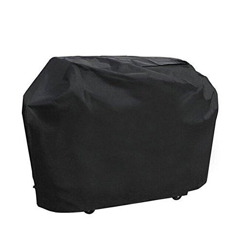 KHDZ Grillabdeckung Barbecue Abdeckhaube Gasgrill Schutzhülle Oxford 100% Wasserdicht BBQ Cover Winddichte Wetterschutzhaube mit Kordelzug zur Bodenbefestigung, Schwarz (L, 145 * 61 * 117 cm)