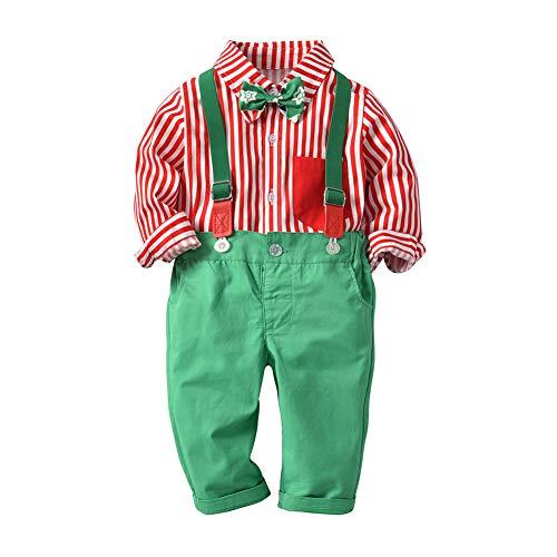ALLAIBB Kleinkind-Baby-Jungen-Weihnachtsanzüge rotes Hemd Hosenträgerhosen Size 110 (roter ()