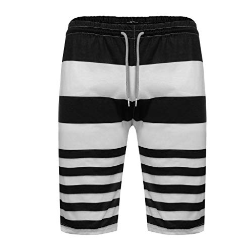 UJUNAOR Herren Badeshorts Badehose Swimming Sommer Beach Shorts Badehosen mit Verstellbarem Tunnelzug Taschen für Surfen(Schwarz,Medium)