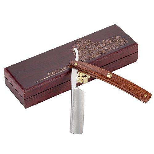 Rasoir Coupe Choux Barbe Professionnel AKUNSZ Rasoir Manuel Lame tranchante en acier inox DIN 17400 avec une boîte en bois, Cadeau Idéal pour les amis et la famille