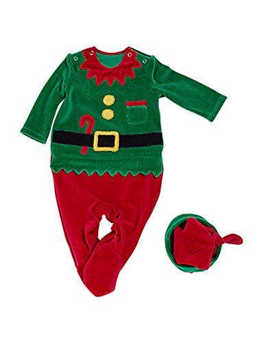 BESBOMIG Unisex Bambino Pagliaccetto Set Costume Natalizio - Pigiama in Cotone Tuta Pigiama per Neonato Bebè Biancheria da Notte con Cappello 2 Pezzi