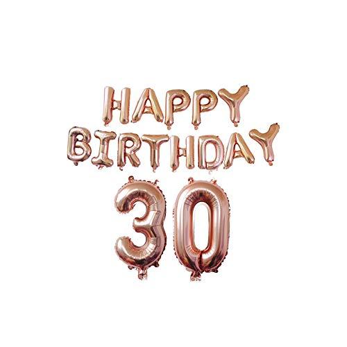 Haodou Ballons Happy Birthday Latex Verdicken Roségold Luftballons für Weihnachtsdekoration Hochzeitsdekoration Geburtstag Party 15 Stück (30 Jahre alt) (Halloween Birthday Party-jahr Alt)