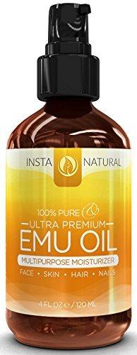 InstaNatural 100% Reines Emu-Öl - Bestens für Haarwachstum, Haut, Gesicht, Schwangerschaftsstreifen und Narben - Natürliche Creme für Ekzeme, Muskel- und Gelenkschmerzen - 4 OZ